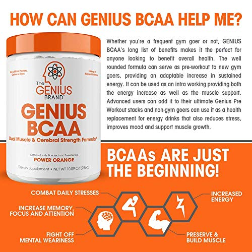 Genius Bcaa Powder with Focus  & Energy – Multiuse Natural Vegan Preworkout