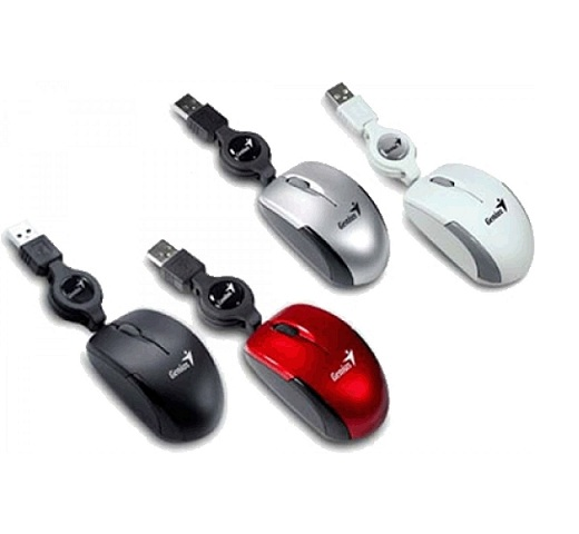 GENIUS MICRO TRAVELER WIRED OPTICAL RETRACTABLE MOUSE (MANY COLOR)