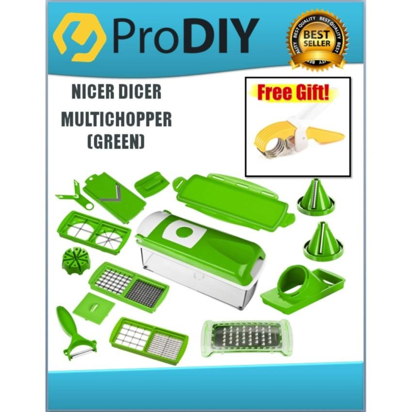 GENIUS NICER DICER PLUS HIGH QUALITY MULTI-CHOPPER (GREEN) W/FREE GIFT
