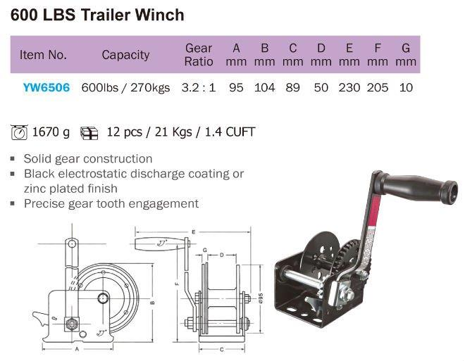 Genius YW6506 600LBS TRAILER WINCH ID778157