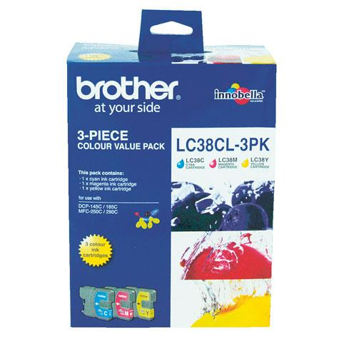 GENUINE BROTHER LC-38 COLOR VALUE PACK INK CARTRIDGE **NEW**SEALED BOX