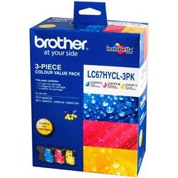 GENUINE BROTHER LC-67HY HIGH YIELD COLOR VALUE PACK INK CARTRIDGE