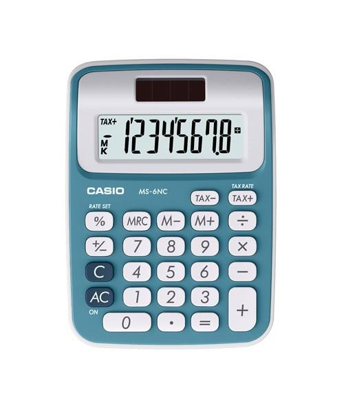Genuine Casio MS-6NC-BU Mini Desk Type Calculator 2-Way Power 8 Digits