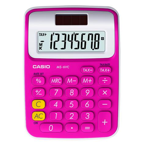 Genuine Casio MS-6VC-RD Mini Desk Type Calculator 2-Way Power 8 Digits