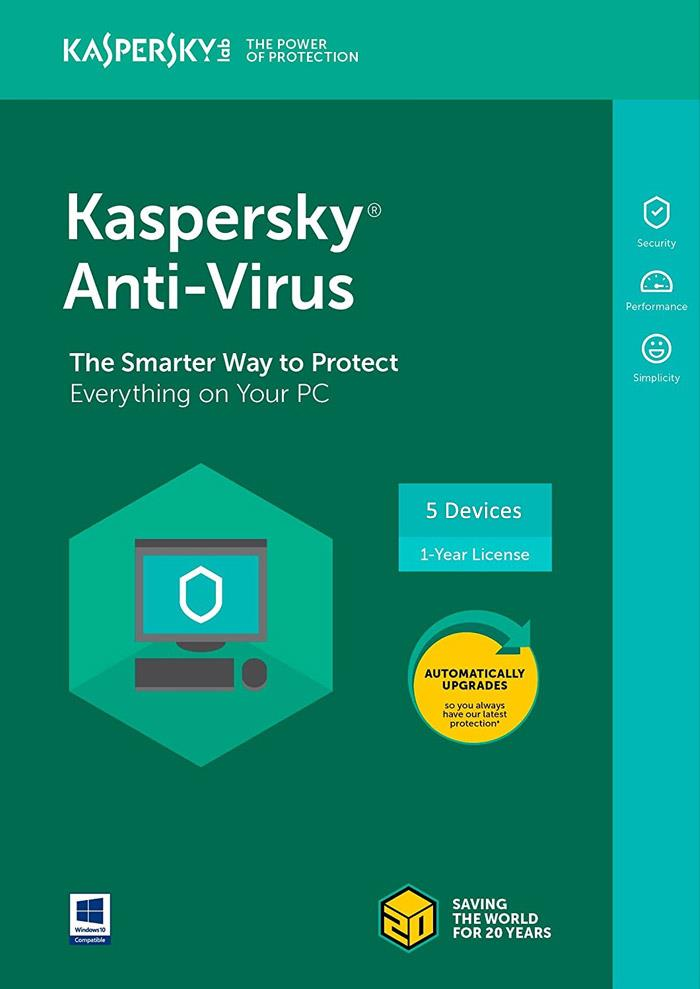 GENUINE KASPERSKY ANTI VIRUS 2021 (1 YEAR 5 DEVICE USER) CD-KEY ONLY
