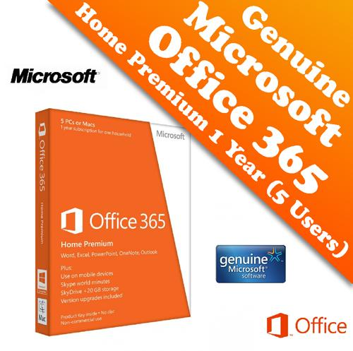 genuine microsoft office 365 home premium 1 year 5 users package