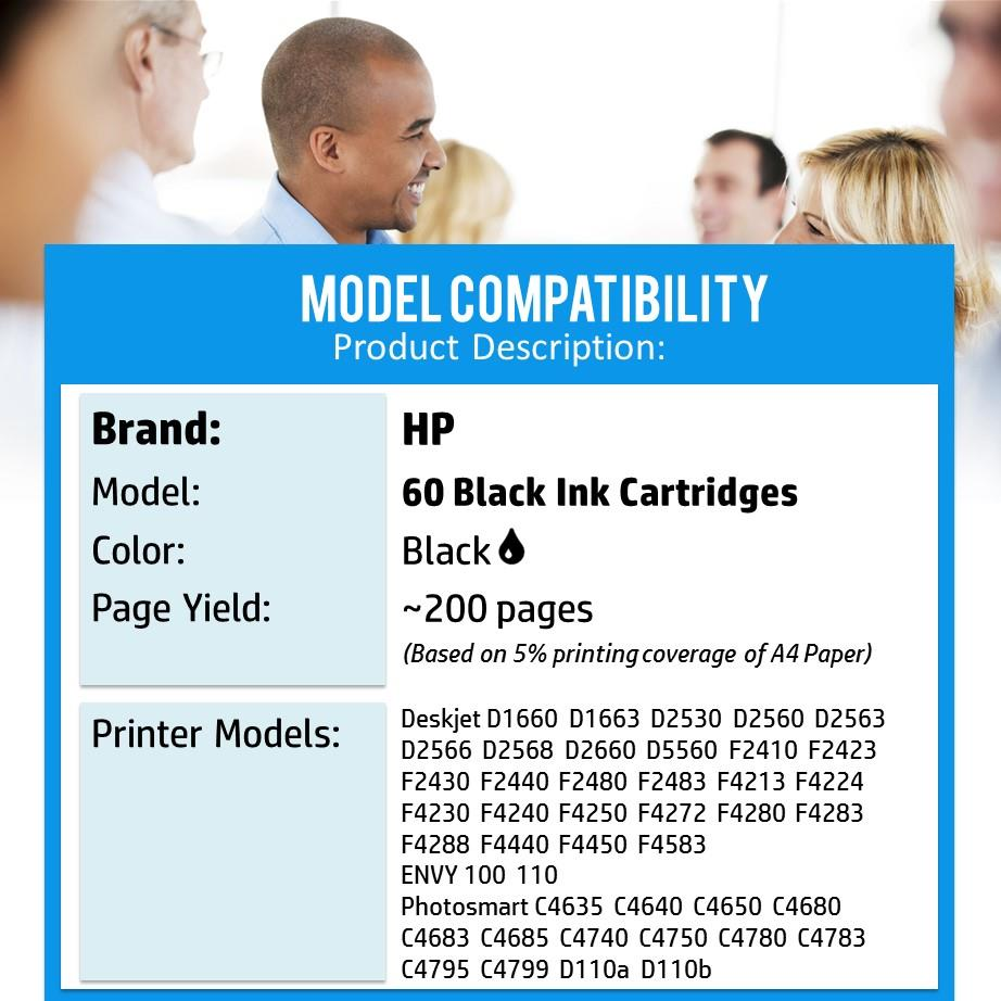Genuine Original Ink HP 60 / HP60 / 60 (Black) Ink Cartridge