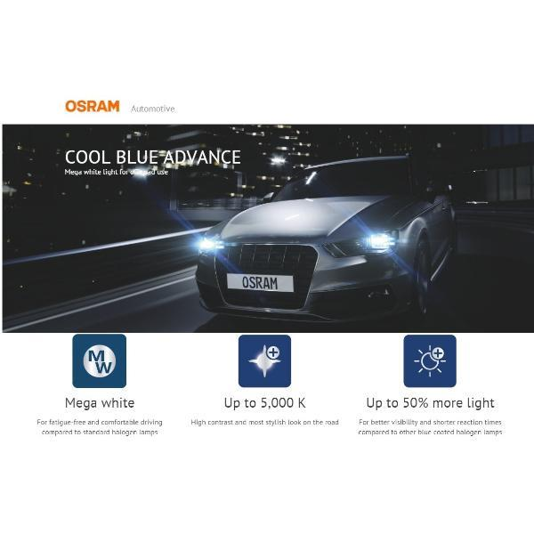 Genuine Osram H11 Cool Blue Advance 5000K +50% More Light (Latest)