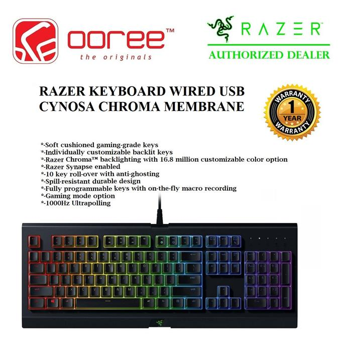 GENUINE RAZER KEYBOARD WIRED USB CYNOSA CHROMA MEMBRANE