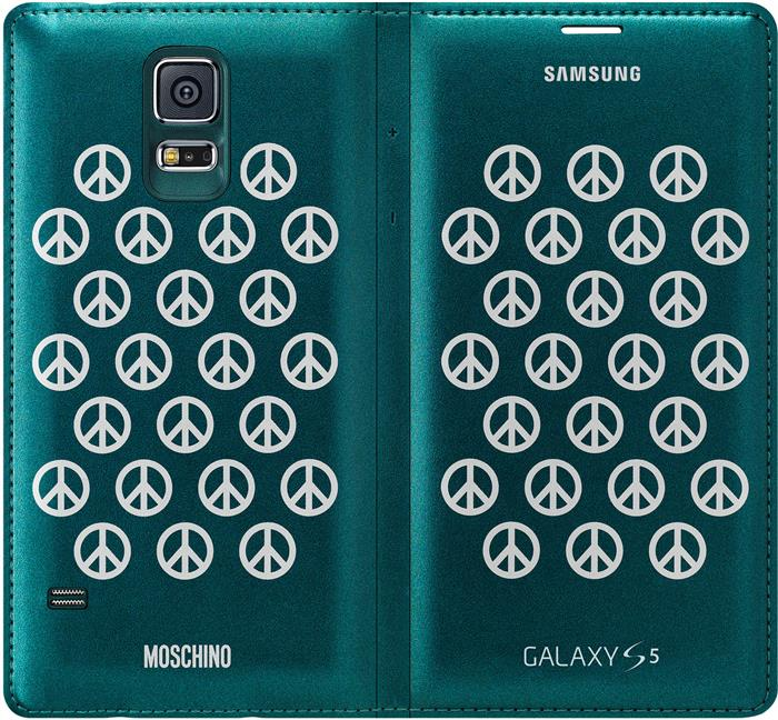 newest 73467 7681a Genuine Samsung Galaxy S5 Moschino Flip Wallet Case Cover