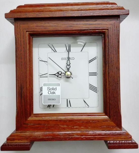 Genuine Seiko Solid Oak Wooden Table Clock, Model: QXG337Z