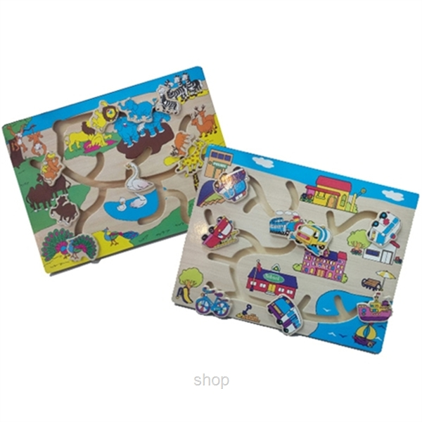 GeNz Kids Maze Board x2 (Animals  & Transport) - 1014