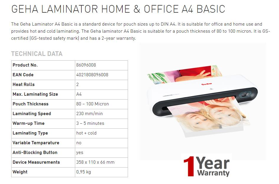 Germany Brand : GEHA Laminator A4 Basic