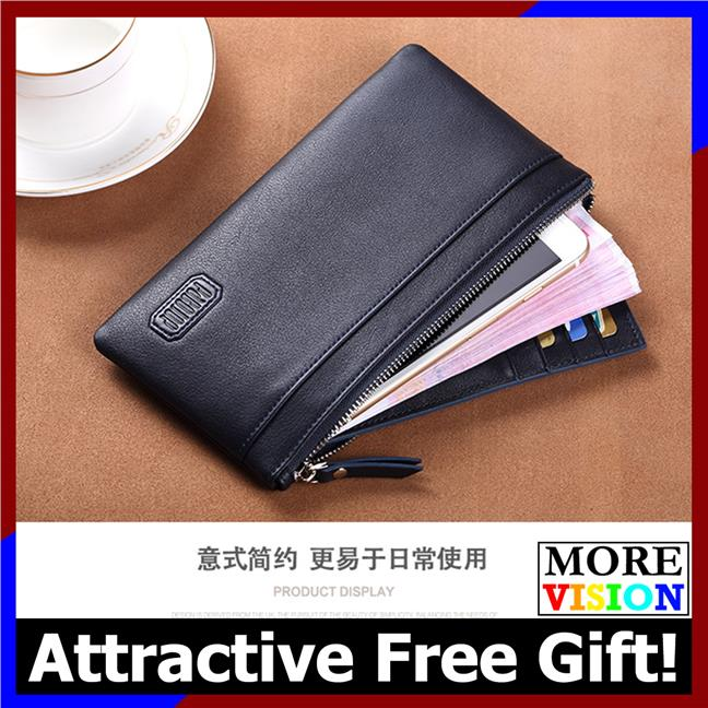 [Gift!] Pabojoe Men Premium Genuine Leather Super Slim Long Wallet 663