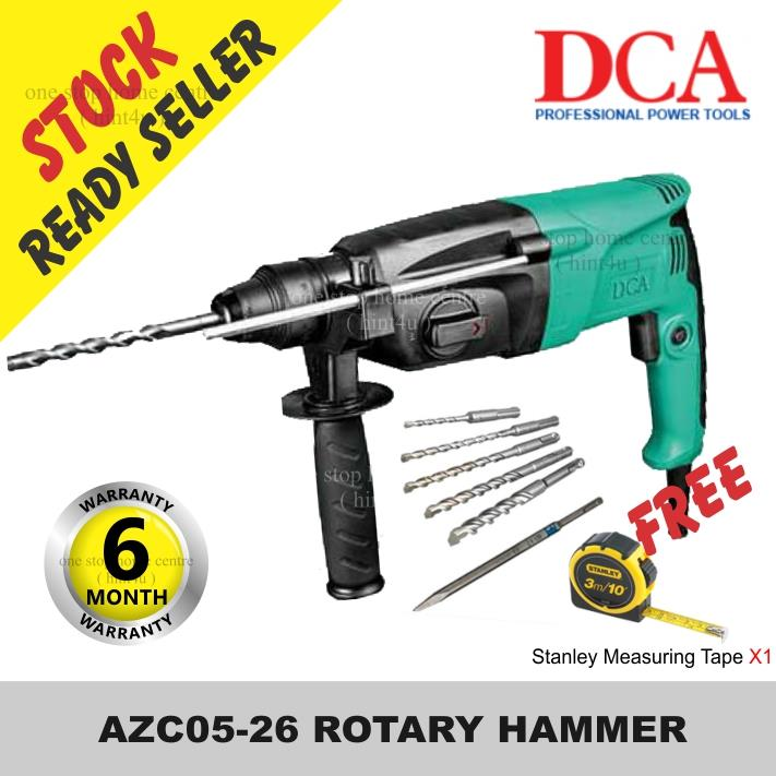 Gift Stanley Tape x1) DCA AZC05-26 26mm ROTARY HAMMER DRILL 720W