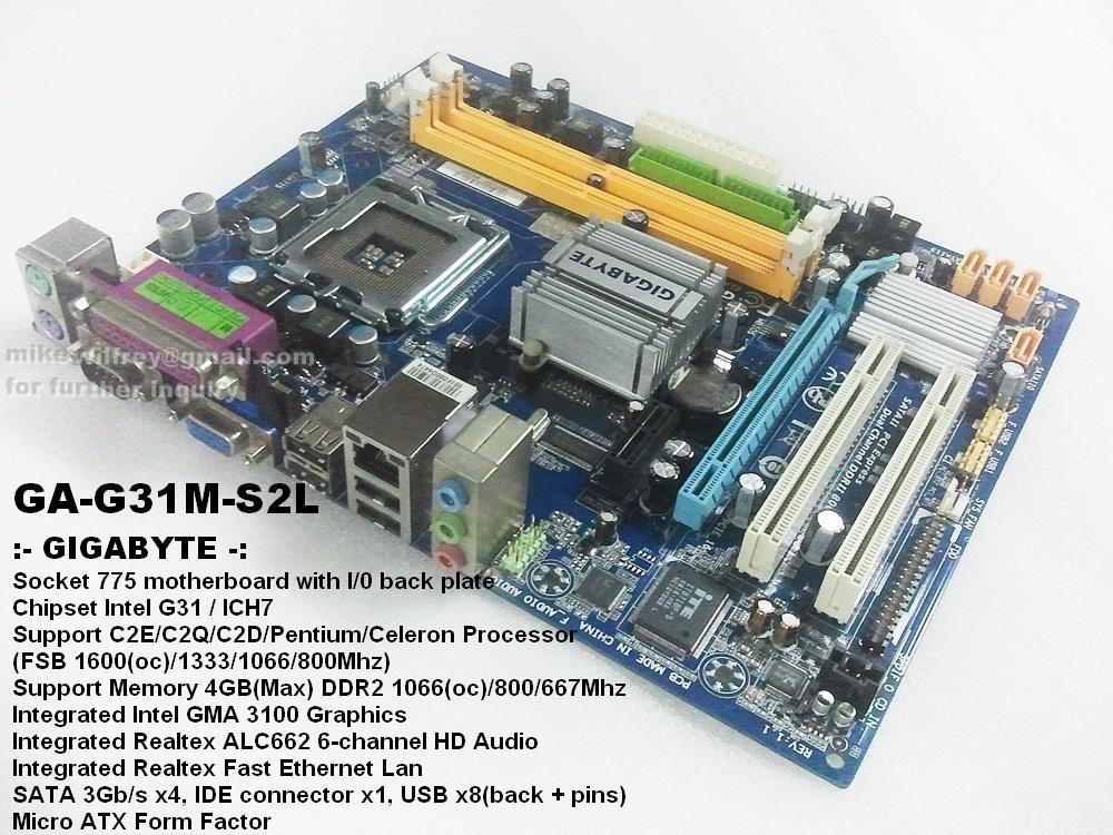 Gigabyte GA-G31M-S2L - motherboard - micro ATX - LGA Socket - G31 Specs