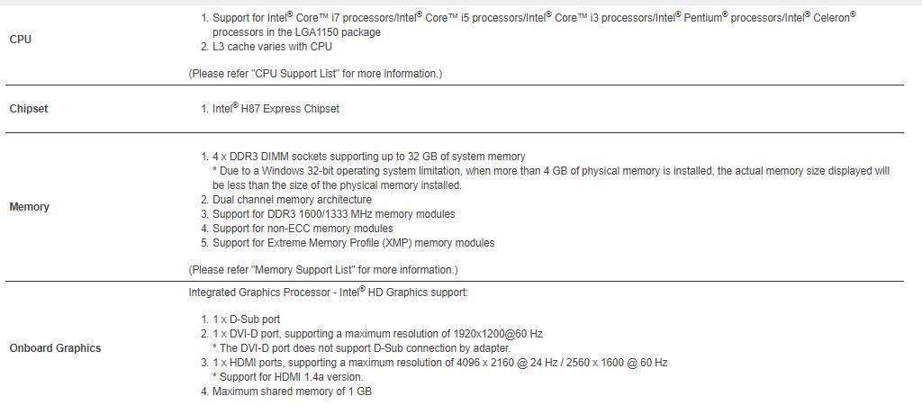 Gigabyte GA-H87-HD3 Motherboard Intel socket LGA 1150