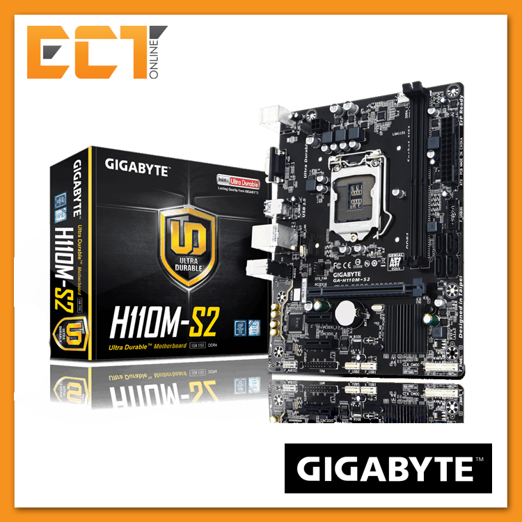 Gigabyte H110M-S2 LGA 1151 Socket 3 PCI-E Slot M-ATX Ultra Durable