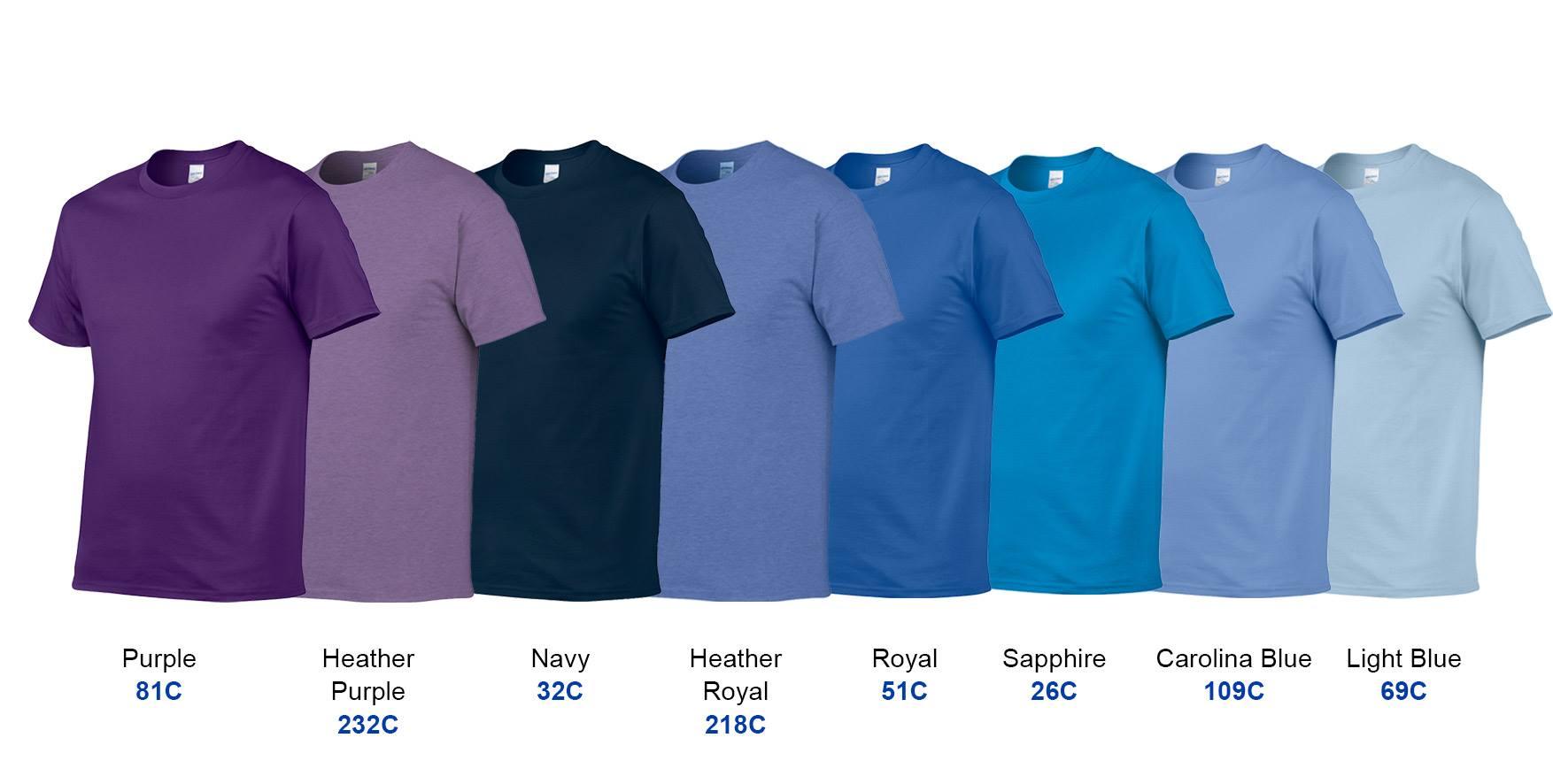 e70b966e84 Gildan Premium Cotton 76000 T-Shirt (Heather Purple &Carolina Blue)
