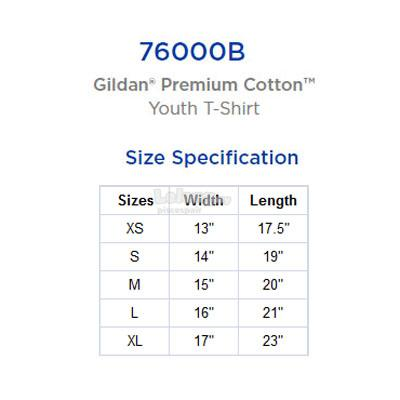 Gildan Premium Cotton Youth/Kids T-shirt 76000B