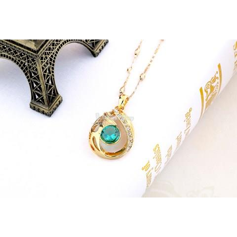 Gilded Green Gemstones Necklace and Earrings Set