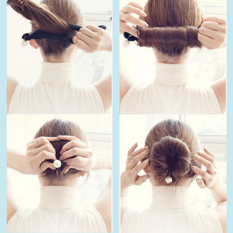 Girl French Donut Styling Bun Maker Pearls Hair Tools