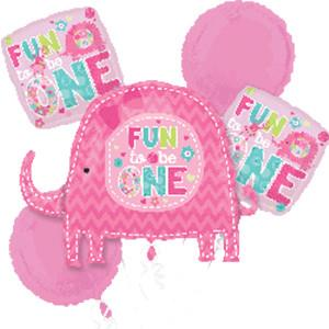 Girl's 1st Birthday Wild at One Elephant Fun to be One Balloon Bouquet