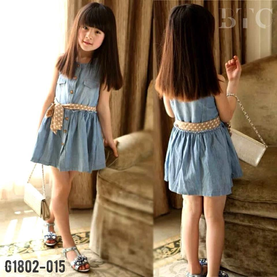 df73f3a9ab93 Girls denim ribbon dress girls cut (end 11 19 2018 10 15 AM)