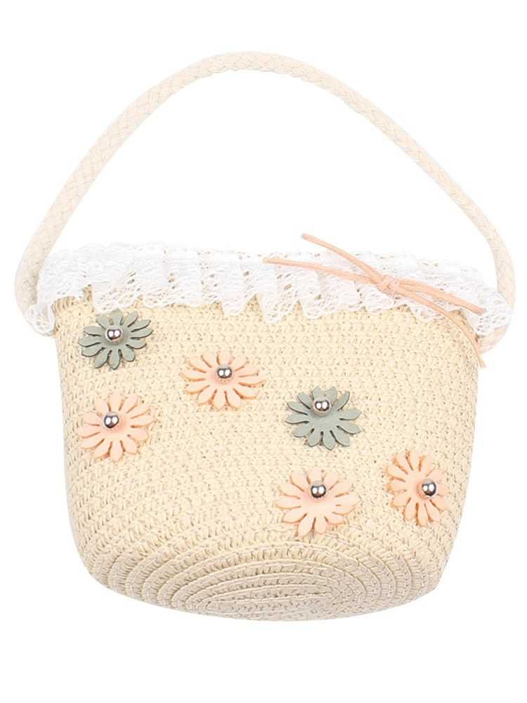 Girls Hand Woven Bag Flower Lace Handbag Rattan Straw Children Kids Bo