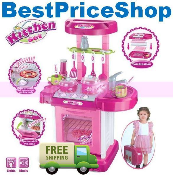 S Kitchen Pretend Play Set Sound Light Educational Toy Cooking