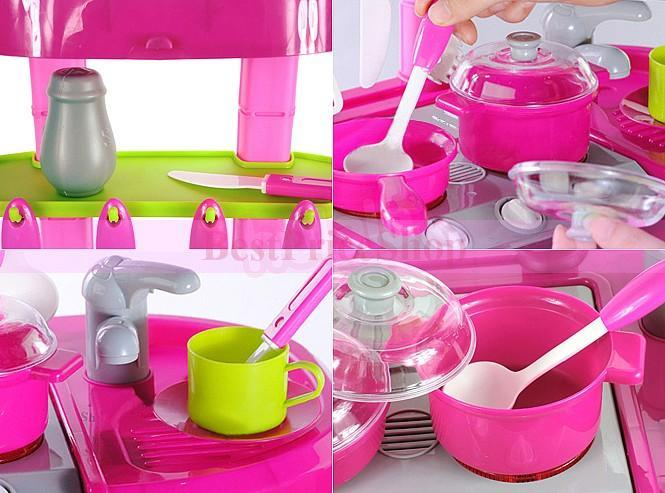 Girls Kitchen Pretend Play Set Sound Light Educational Toy Cooking