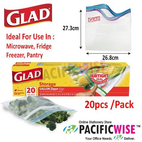 GLAD STORAGE GALLON ZIPPER BAG 26.8CM X 27.30CM (20BAG)