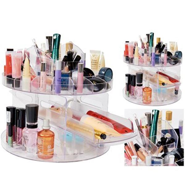 3b14c1493b67 Glam Cady Spins 360 Rotating Transparent Acrylic Cosmetic Makeup Organizer  Hol