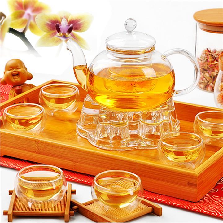 Glass Tea Pot Set + Warmer + 6 Double wall cup Teapot