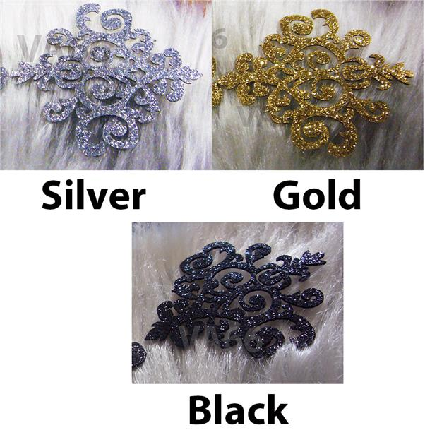 Glitter Silver Gold Black Iron On Patch Applique Vintage Lace Motif