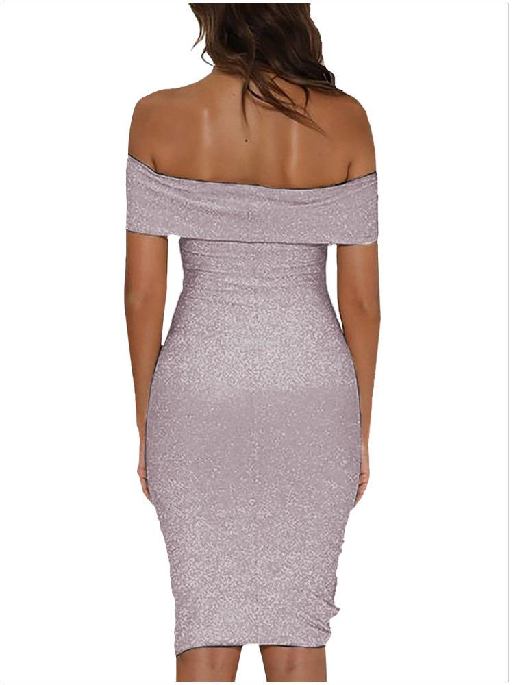 New glitter slim wrap neck collar dress