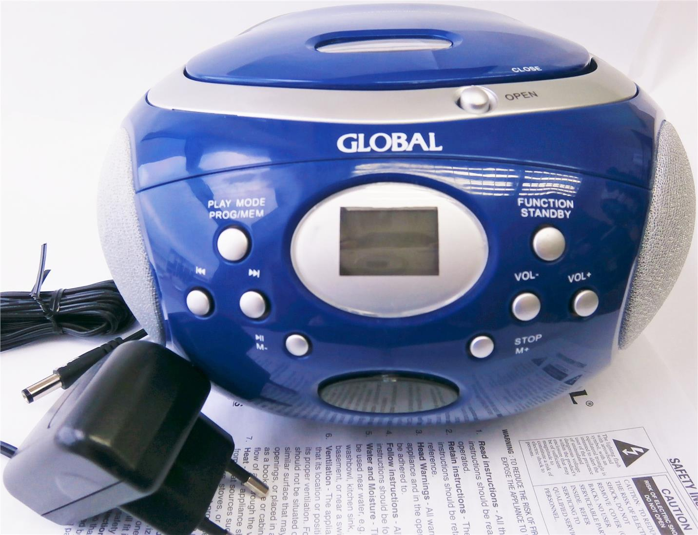 GLOBAL PORTABLE CD RADIO (GRCD 626) BLUE COLOUR