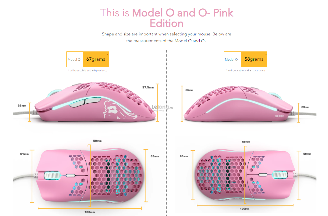 # GLORIOUS [Model O/Model O-] Pink RGB Gaming Mouse # 2 Model Avlbl
