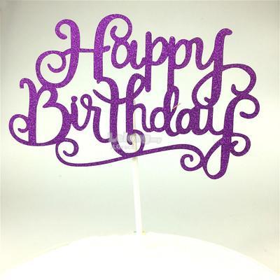 Glossy Happy Birthday Cake Topper Bunting Decoration