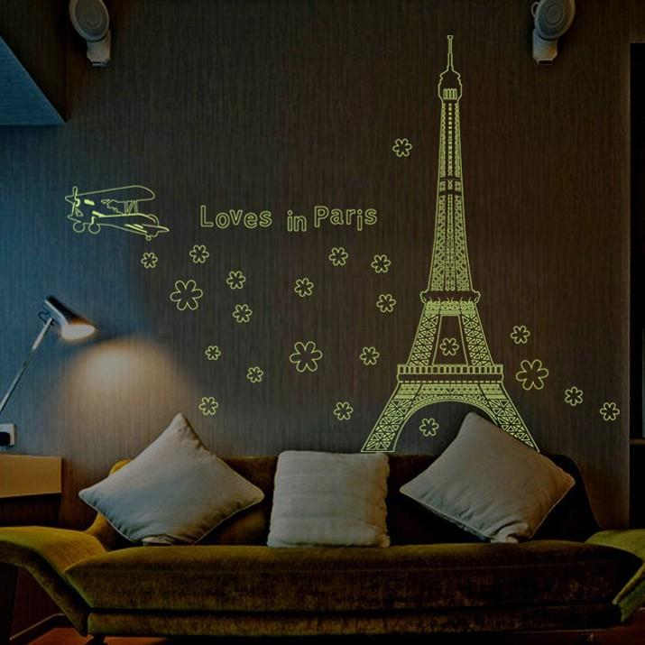 Great NEW Glow In The Dark Paris Eiffel Tower WallSticker WallPaper. NEW Glow In  The Dark Part 18
