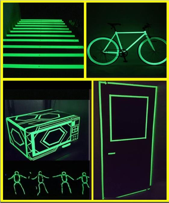 Glow in The Dark Single Sided Tape Sticker Yellow Green 30mm x 3 meter