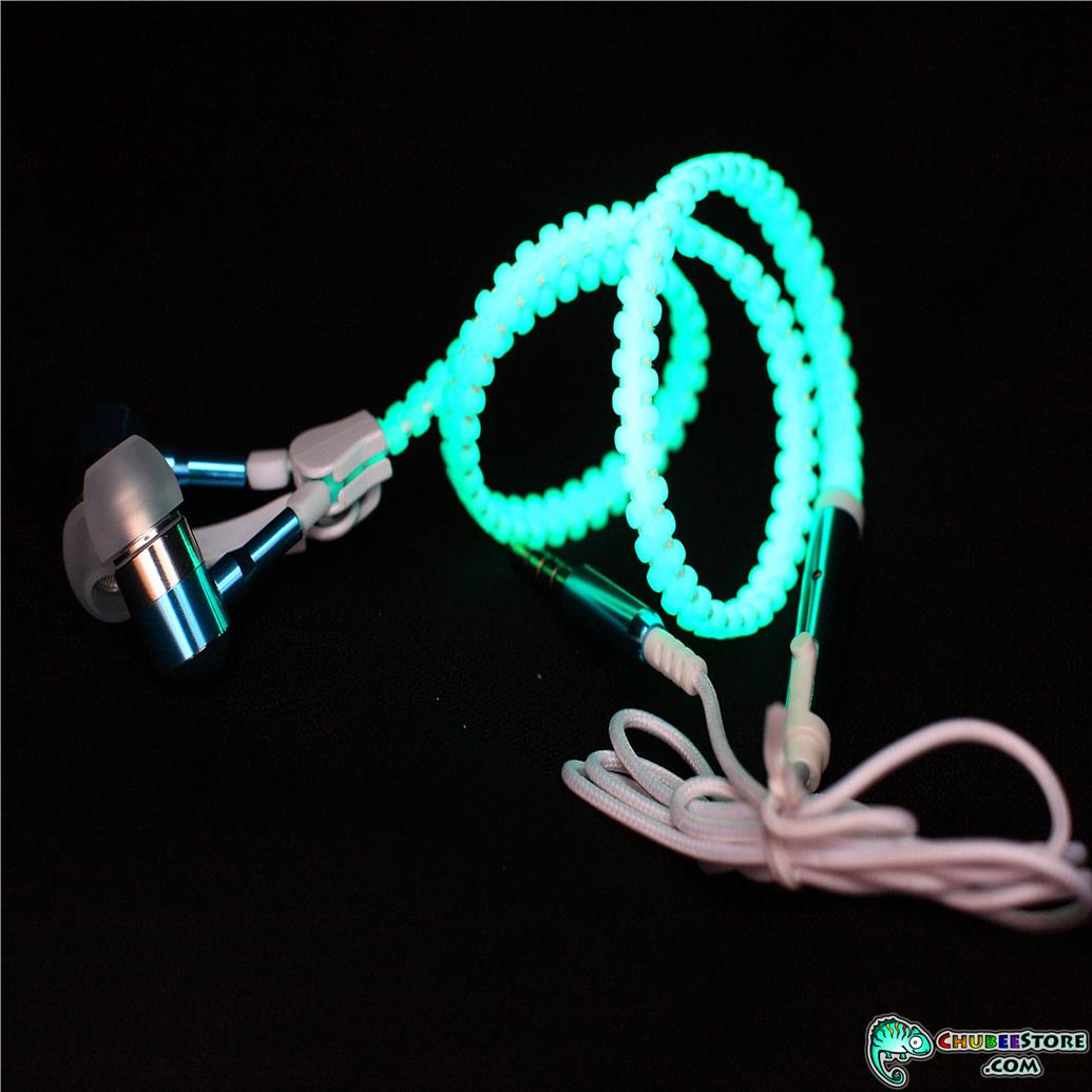 Glowing heavy bass night club zip zipper earphone-mic,volume