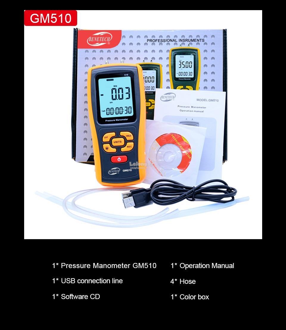 GM510 Digital Manometer USB LCD Differential Pressure Gauge Meter
