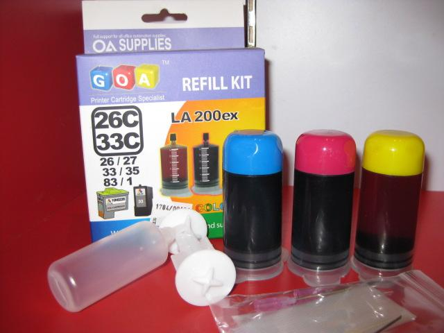GOA UNIVERSAL REFILL INK FOR LEXMARK, LA-200EX,CLR