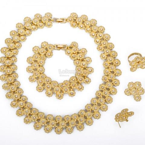 Gold Crystal Fashion Jewelry Set