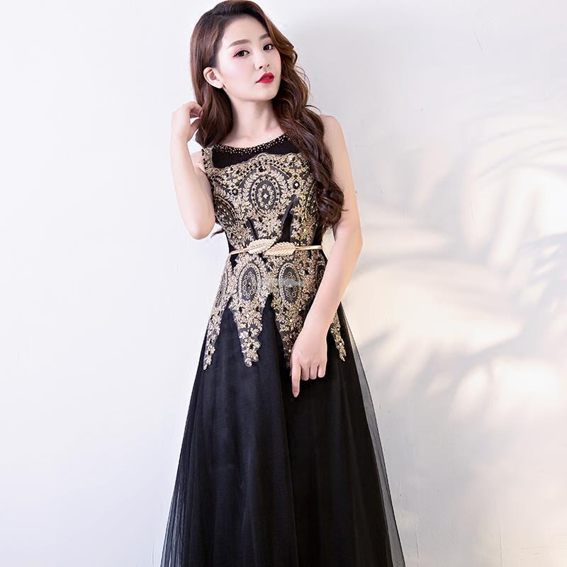 Gold Embroidered Black Evening Dress