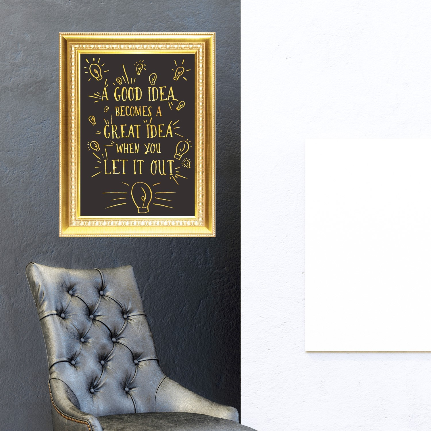 GOLD FRAME STICKER GREAT IDEA QUOTE (end 8/13/2020 11:25 PM)