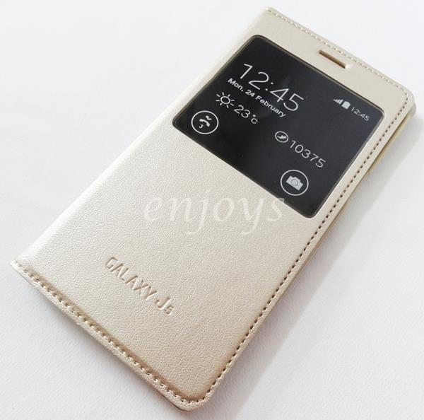 GOLD S View Case Flip Battery Cover Samsung Galaxy J5 /J500G *XPD