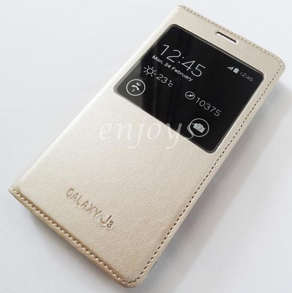 pretty nice 96f7c 87a7d GOLD S View Flip Book Cover Hard Case Samsung Galaxy J3 (2016) *XPD