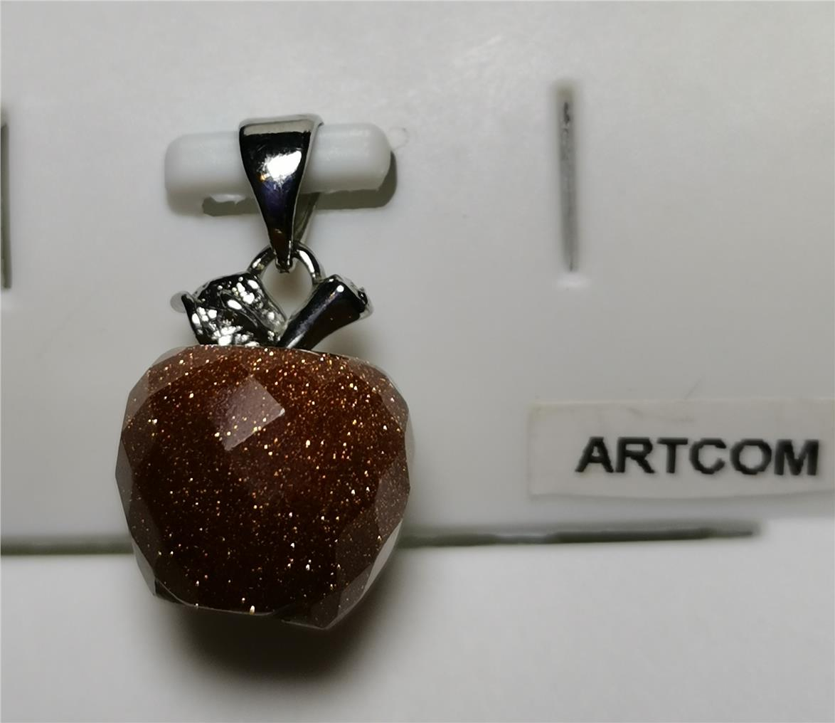 Gold Sand Faceted Apple Pendant (12mm)